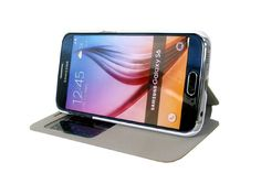 S-view Design Heat Press Flip Leather Protector Cases for Samsung Galaxy S6 | Lagoo Tech