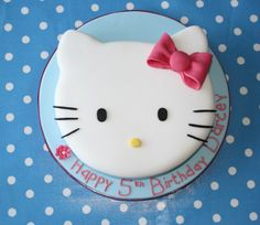 Hello Kitty cake for my Evie Girl's birthday. Hello Kitty Birthday Cake, Hello Kitty Cake, Cupcakes, Cupcake Cakes, No Bake Cookies, No Bake Cake, Fondant, Cake Templates, Cool Birthday Cakes