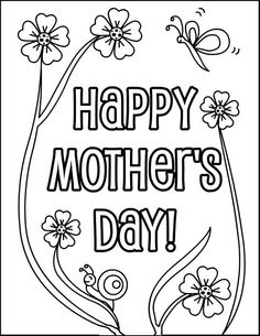 Happy Mothers Day Greeting Coloring Picture For Kids
