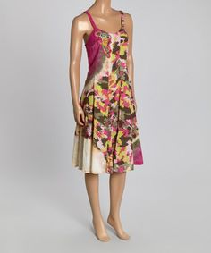 Look at this #zulilyfind! Fuchsia Floral Scoop Neck Dress #zulilyfinds