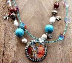 Romantic Bohemian necklace. Beaded, Red and Turquoise beads with sweet flower pendant - COLORFUL FLOWERS - Bohemian jewelry & African jewelry   by DazzlingDivaJewels, $172.00   Designed & Created by Patrice