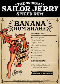 Sailor Jerry Banana Rum Shake Sailor Jerry Spiced Rum Fresh - Sailor Jerry Banana Rum Shake Sailor Jerry Spiced Rum Fresh Banana Vanilla Ice Cream Milk Brown Sugar Cinnamon Nutmeg Ice Cubes No Longer Listed On The Site Party Drinks, Cocktail Drinks, Fun Drinks, Yummy Drinks, Cocktail Recipes, Alcoholic Drinks, Beverages, Summer Cocktails, Mixed Drinks