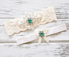 Emerald Green Ivory White Lace Bridal Garter by ContessaGarters