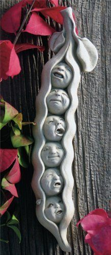 Hand Cast Stone SWEET PEA SEXTUPLETS Concrete Vegetable Food Face PLAQUE Sculpture by GEORGE Carruth Studio by eEarthExchange. $42.95. Collectible all over the world. Exquisite details. Ships within 10 business days. Hand Cast Concrete. NO Resin or Plastic. Crying babies, sleepy babies, curious babies all cuddle close in their cozy pea pod bed. A perfect baby shower gift or decoration for the new baby's room. Maybe even a first birthday gift.