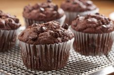 """These chocolate chip muffin recipes will have you craving something sweet every day of the week! For """"Quick & Easy"""" recipes for muffins for the sweet tooth in your household, check out these top muffin r Triple Chocolate Muffins, Bakers Chocolate, Chocolate Recipes, Best Dessert Recipes, Cupcake Recipes, Cupcake Cakes, Cupcakes, Delicious Recipes, Cookie Recipes"""