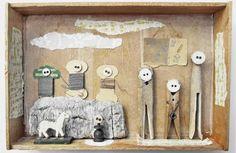 lovers of mint: Mano Kellner, ou l'art de mettre en boite 3d Collage, Collages, Shadow Box Kunst, Shadow Box Art, Pop Up, Matchbox Art, Deco Boheme, Blog Deco, Assemblage Art