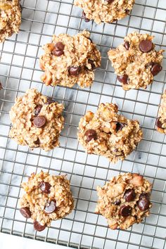 Easy banana chocolate chip cookies - just oatmeal, bananas, walnuts (optional), and chocolate chips