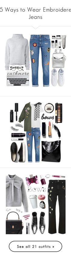 """""""15 Ways to Wear Embroidered Jeans"""" by polyvore-editorial ❤ liked on Polyvore featuring waystowear, embroideredjeans, Le Kasha, Bobbi Brown Cosmetics, STELLA McCARTNEY, Loeffler Randall, adidas, cashmere, RED Valentino and WithChic"""