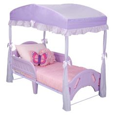 Delta Girls Toddler Bed Canopy - Purple looks cheap, but love the idea