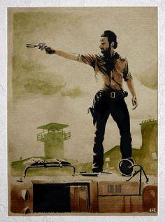 Rick Grimes - The walking Dead - Andrew Lincoln - @WalkingDead_AMC Papier kraft.Encre de chine + Colorex + Marqueurs + Aquarelle.