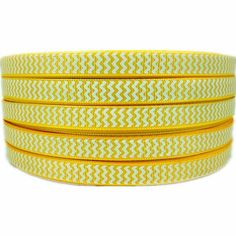 50yd 3/8' White Chevron Printed Yellow Grosgrain Ribbon for DIY * You can get more details by clicking on the image.