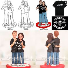 Couple in Rock Out Stance Wedding Cake Toppers