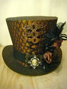 Steampunk  Handmade copper  Taffeta  Top Hat with roses and keyhole frame