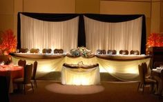Wedding backdrop panels are used to cover unattractive walls and stages for a wedding reception.  Creative use of draping fabric and lights creates beautiful ambiance and sets to mood for romance.