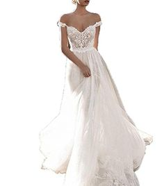 43fd6717a9 Womens Off Shoulder Bohemian Wedding Dresses Lace Long Tulle Bridal Gowns  2018 White US18W    Click for Special Deals  WeddingDress