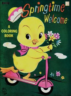 Vintage Easter Coloring Book - Springtime Welcome