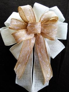 Weddidng Bows, Large White And Brown Burlap Ribbon Bows With Lace, Rustic, Wedding, Reception, Decorations, Church Pew…