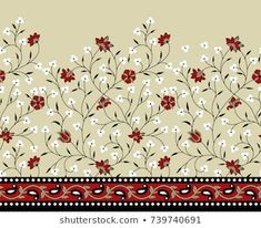 Discover recipes, home ideas, style inspiration and other ideas to try. Border Embroidery Designs, Embroidery Suits Design, Hand Work Embroidery, Free Machine Embroidery Designs, Diy Embroidery, Embroidery Motifs, Textile Prints, Textile Design, Floral Prints