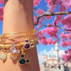 ALEX AND ANI Disney Birthstone Charm bangles | Available on disneystore.com and at the theme parks in both Disney Land and Disney World.