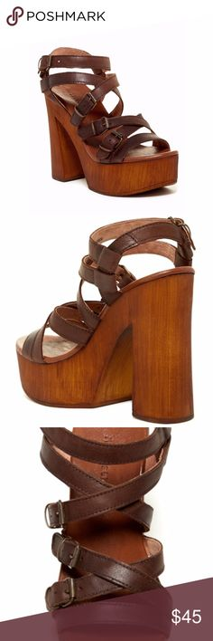 """MUSSE & CLOUD MAISHA WOODEN PLATFORM SANDAL Brand new with box. Never worn.  - Open toe - Strappy multi buckle vamp - Wrap-around ankle strap with buckle closure - Cushioned footbed - Wooden block heel and platform - Approx. 5"""" heel, 1.75"""" platform - Imported  Materials: Leather upper and lining, wooden sole MUSSE & CLOUD Shoes Heels"""