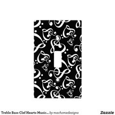 Treble Bass Clef Hearts Music Pattern Light Switch Switch Plate ... This will look good with my bedroom when i am painting my room.