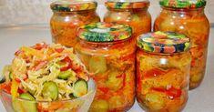 Kapustovo – uhorkový šalát na zimu. Aj 30 zaváranín bude málo, taký je úžasný. Ideálny k mäsu alebo ako príloha Thing 1, Fresh Rolls, Pickles, Cucumber, Jar, Stuffed Peppers, Vegetables, Ethnic Recipes, Sauces