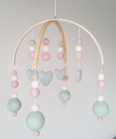 Felt Ball Baby Mobile, Pink and Mint Mobile, felted heart mobile, felt pom mobile, baby shower gift, nursery decor, whimsical baby mobile