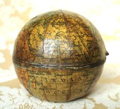 ANTIQUE 19th CENTURY MINIATURE GLOBE TRAVELLING INKWELL