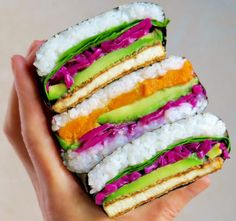 Onigirazu, Vegan Lifestyle, Sushi, Sandwiches, Vegan Recipes, Lunch Box, Easy, Food, Meal