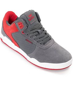 promo code a444b 65edc Supra Ellington Grey, Red   White Suede Skate Shoes