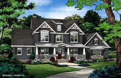 Check out the front rendering for The Blarney home plan 1424.