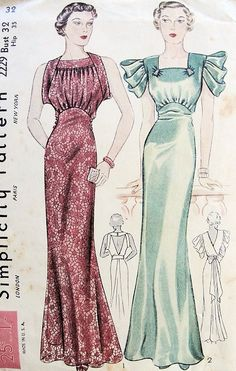 1930s GLAM BIAS CUT ART DECO EVENING GOWN PATTERN 2 GORGEOUS JEAN HARLOW MYRNA LOY STYLES SIMPLICITY  2229
