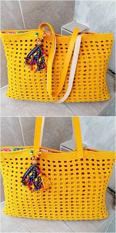 Style Crochet Ideas And Designs attractive crochet bag in yellow Diy Crochet Basket, Crochet Bowl, Crochet Ripple, Crochet Quilt, Crochet Yarn, Knitting Designs, Crochet Designs, Crochet Patterns, Crochet Ideas