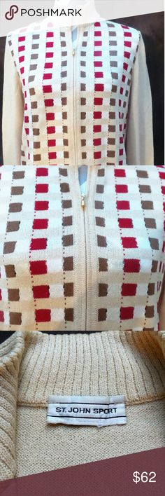 St. John Sport Sweater *~* Host Pick *~* A stunning Wool/Rayon, Brown, Red and White checkered patterned Sweater.  It's authentic and has a nice zipper with the unique bell like zipper. This Sweater is in excellent condition and very styling ;D . Honestly its nice and  the stretchy material feel nice and soft to the touch. Take this lovely sweater home today!! St. John Sport Sweaters Cardigans