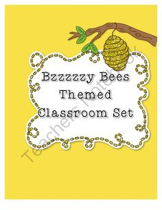 Bzzzzy Bees Themed Classroom Set from kellybellys on TeachersNotebook.com -  (32 pages)  - Thinking about having a bumblebee themed classroom this year?   - Calendar month names - Calendar numbers - Table signs - Brown bumblebee name plates - Yellow bumblebee name plates - Lesson plan binder cover - 14 Job signs - Inbox sign - Outbox Sign - Two