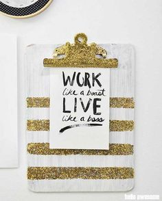 DIY clipboard bombed with chunky glitter