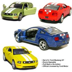 Set of 4: 5 2006 Ford Mustang GT with Stripes 1:38 Scale (Blue/Green/Red/Yellow) $19.99