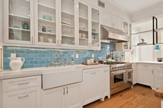 Coastal Chic Bay Area Kitchen | Installation Gallery | Fireclay Tile; Caribbean color