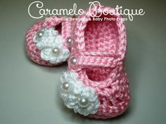 Pink Baby Girl Mary Janes Shoes with by CarameloBoutique on Etsy