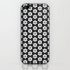 Straya iPhone, iPod, ipad and laptop Skins by Cally Creates | Society6. Bold black and white geometric repeat pattern made from cubes and six pointed stars.