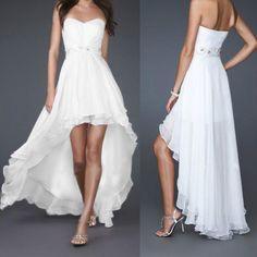 Stock Hi-lo Bead Women Wedding Bridesmaid Prom Formal Evening Party Dress Bridal
