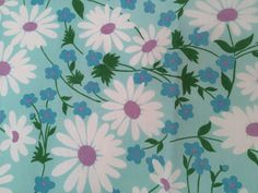 vtg Fieldcrest FULL FLAT Sheet Turquoise Daisy floral retro 60s 70s fabric mod #Fieldcrest #Modern