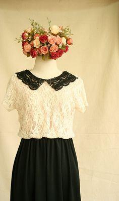 Tuna Onigiri  Black & White Lace dress with Lace by MacchiatoRoom, $55.00