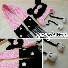 Minnie Mouse hat and scarf .