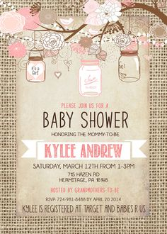 Burlap Rustic Baby Girl Shower Invitation Mason Jar by Silvergaze