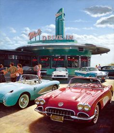 A drive-in restaurant was a new and casual way to eat fast and hang out with friends. This development came with the rise in popularity of the car. These drive-in restaurants helped shape our American culture of food. Retro Cars, Vintage Cars, Retro Vintage, Vintage Style, Pompe A Essence, Photocollage, Aesthetic Vintage, 1950s Aesthetic, Chevrolet Corvette