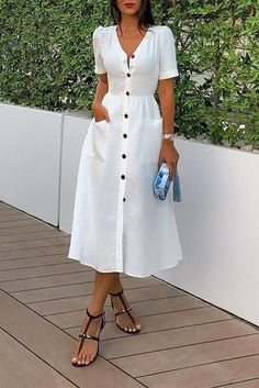 Commuting Commuting Pleated V Neck Short Sleeve Pure Colour Dress – dresses casual,style fashion,pretty casual dresses,casual day dresses,dress ideas casual,fashionable dresses,women fashion casual dresses #casualdresses #casualdressesforfall #ca Source by pynter_life #fashion dresses casual