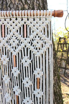 Large Macrame Wall Hanging with copper beads by Jonatis on Etsy