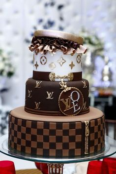 Louis Vuitton stacked boxes cake!! Love this cake!!