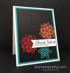 Stampin Up Flourishing Phrases Flourish Thinlits Thank You Card Ideas - Mary…